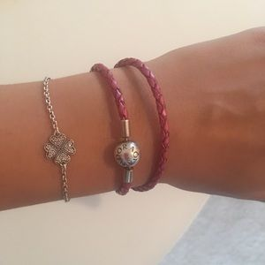 Pink leather double braided Pandora Bracelet